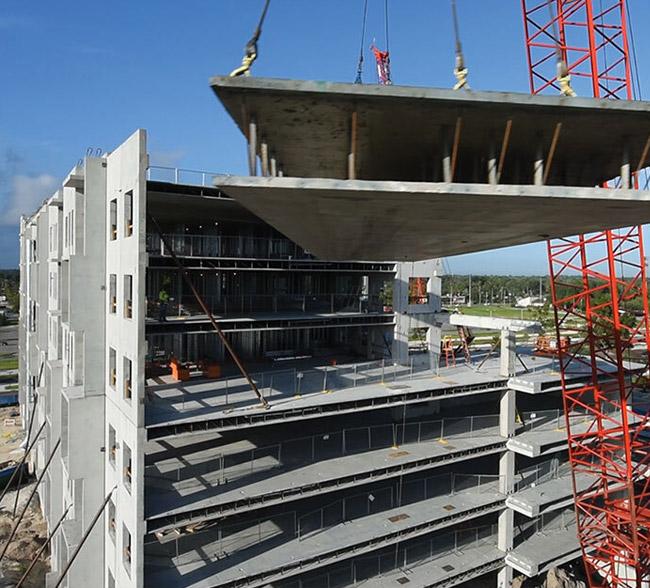 precast building construction with crane