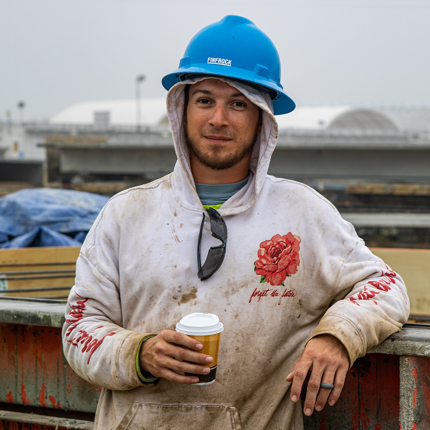 construction worker with a cup of coffee