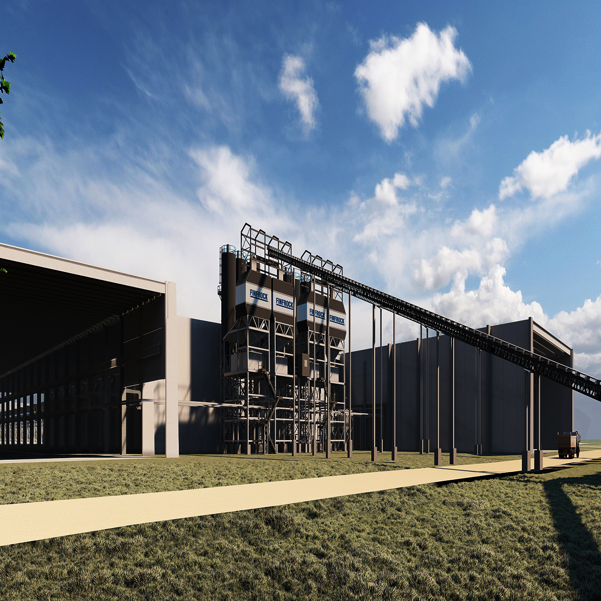 An architectural rendering of FINFROCK's manufacturing facility in Belle Glade, FL